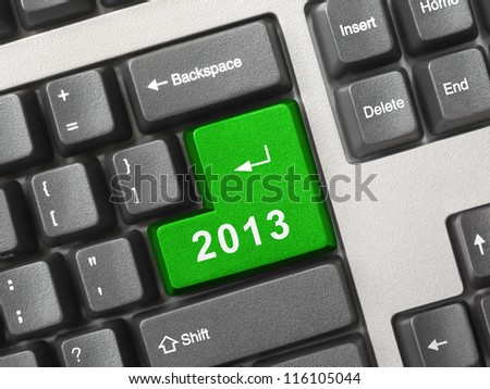 Computer keyboard with 2012 key - holiday concept