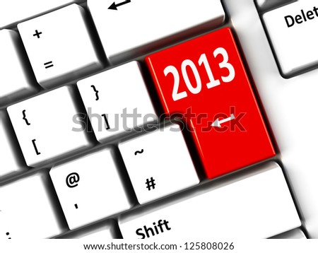 Computer keyboard with 2013 key, three-dimensional rendering - stock photo