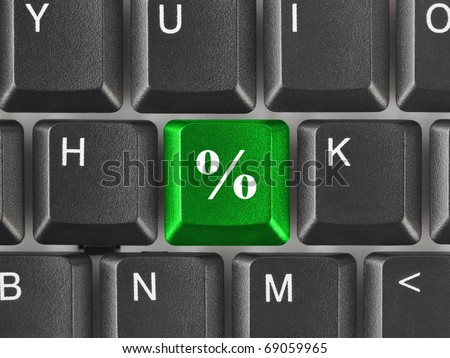 Computer keyboard with percent key - business background