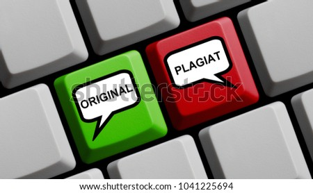 Computer Keyboard with speech bubble symbols on red and green key showing Original and Copy in german language #1041225694