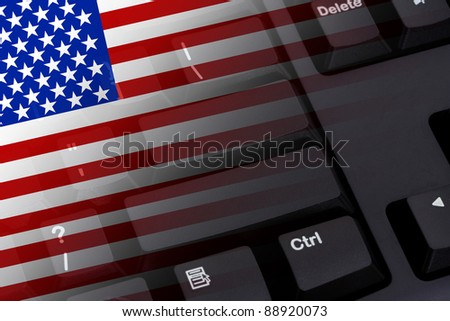 Computer keyboard with the American flag on it, Internet in USA