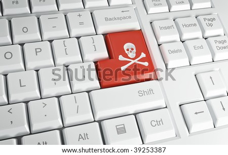 Computer keyboard with the pirate's symobl on the Enter key