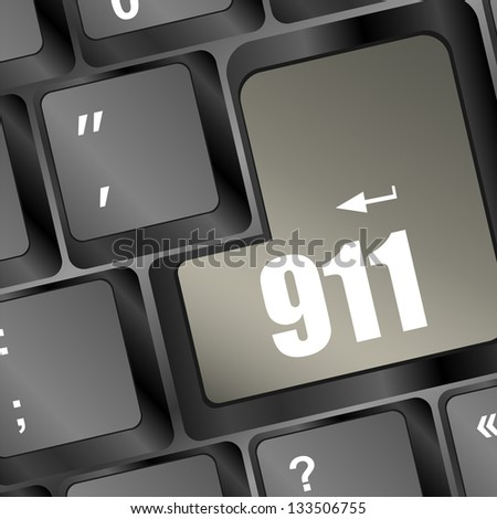 Computer keyboard with the 911 sign, raster - stock photo