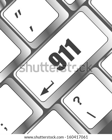 Computer keyboard with the 911 sign, raster