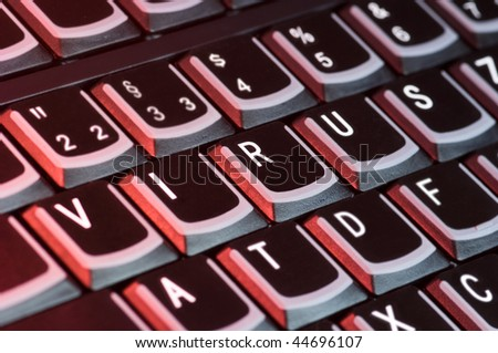 Computer keyboard with the word Virus on the keys