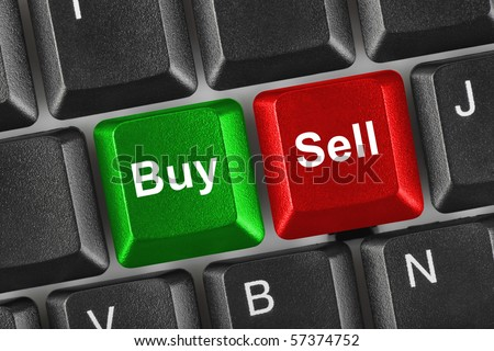 Computer keyboard with two business keys - e-commerce concept - stock photo