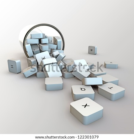 computer keys in a glass isolated on white background
