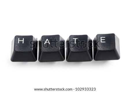 computer keys isolated on white spelling the word  hate