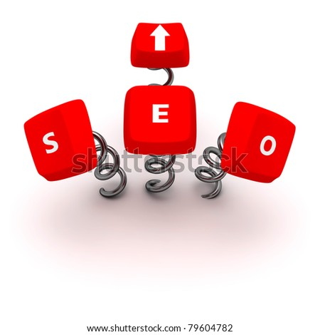 """Computer keys """"Search Engine Optimization"""" on springs - stock photo"""