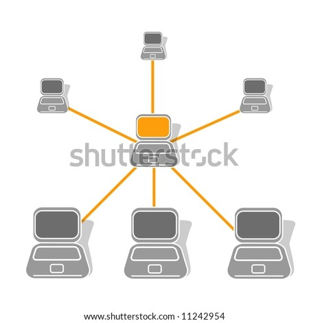 Computer Lan - Wan Network - stock photo