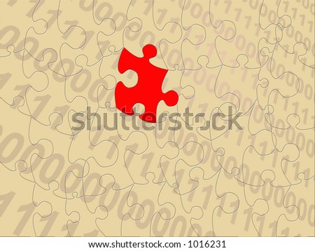 computer language with missing puzzle piece in red along with all other pieces visible.