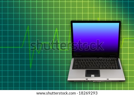 computer laptop and heartbeat graph as concept for on-line doctor