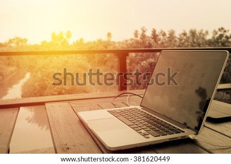 computer laptop on table in...