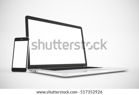 Computer, laptop, tablet, smartphone, display. on white background workspace mock up design illustration 3D rendering