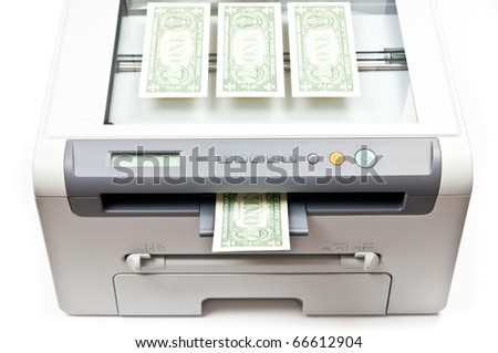 Computer laser printer and dollars isolated on white background