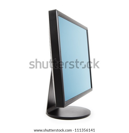 Computer LCD flat panel monitor sideview, isolated on white.