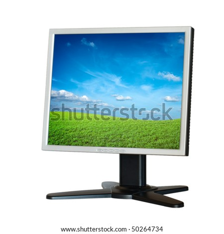 Computer LCD monitor isolated on white background