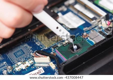 Computer literacy repair men hands, man examines laptop