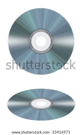 Computer-made illustration: isolated realistic compact disc on a white background. Frontal and perspective