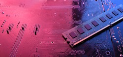 Computer memory RAM on circuit motherboard background . Close up. system, main memory, random access memory, onboard, computer detail. Computer components . DDR3. DDR4. DDR5.