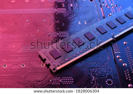 Computer memory RAM on circuit motherboard background . Close up. system, main memory, random access memory, onboard, computer detail. Computer components . DDR3. DDR4. DDR5