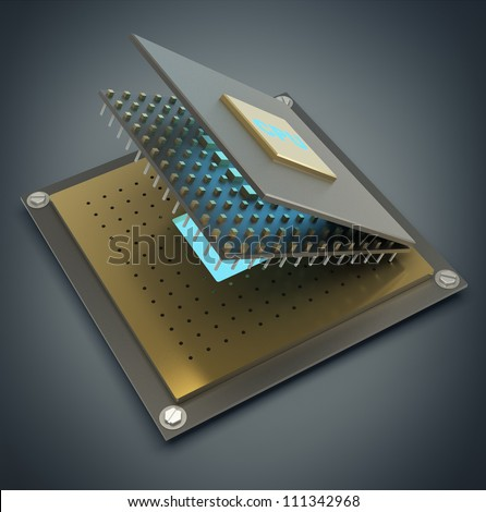 Computer microchip CPU disassembled. Icon 3D. High resolution
