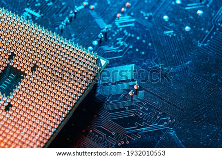 Computer microchip, electronic microcircuit. Computer security, technology neural networks Stockfoto ©