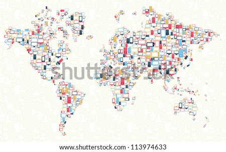 Computer, mobile phone and tablet colors icons in world shape over social media background.