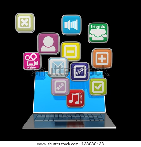 Computer mobility. laptop with color application icons isolated on black background High resolution 3d render