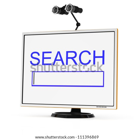 computer monitor and binoculars isolated on white background. Internet search concept