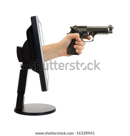 Computer monitor and hand with gun isolated on white background