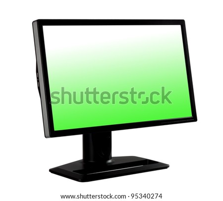 Computer monitor in black standing at an angle