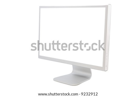 computer monitor in white over a white background