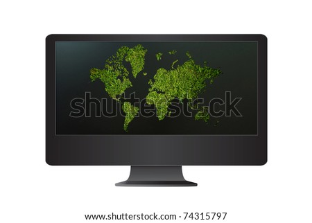 Computer monitor isolate on the white with world map grass.