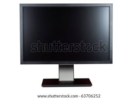 Computer monitor isolated white background clipping path.