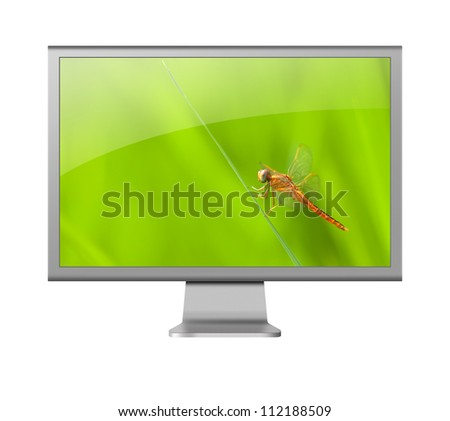 computer monitor LCD with beautiful wallpaper on white background