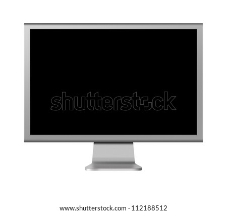computer monitor LCD with blank screen on white background