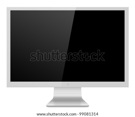 Computer Monitor, like appled screen. Isolated on white background.