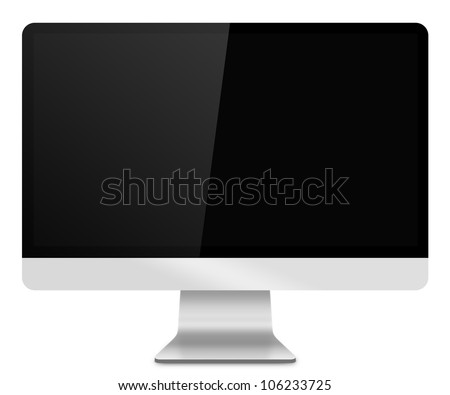 Computer Monitor, like appled with blank screen. Isolated on white background.