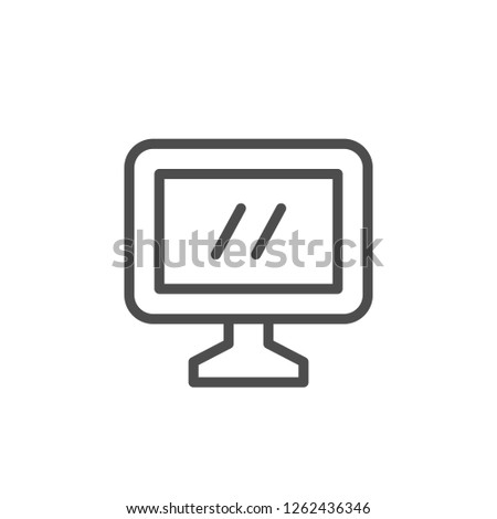 Computer monitor line icon isolated on white