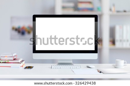 Computer monitor on table for mock up
