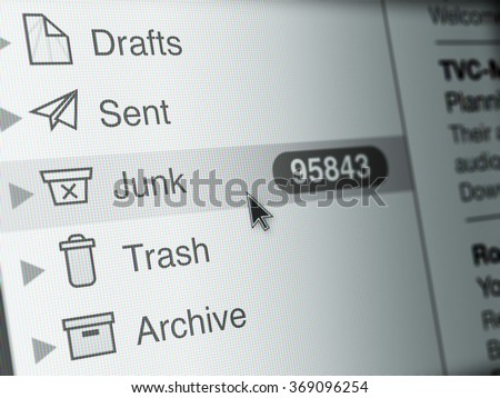 Computer Monitor screen, concept of spam email