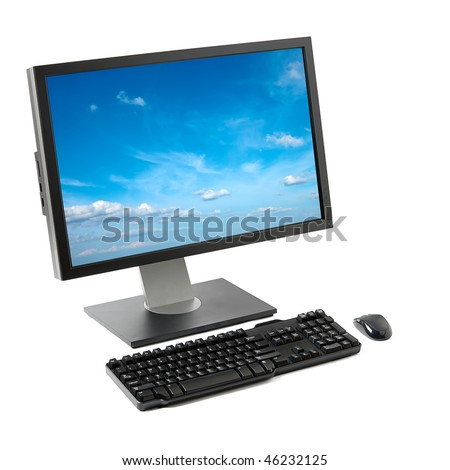 Computer (monitor screen, keyboard, mouse) with sky isolated