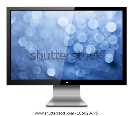 Computer Monitor with abstract blur screen. Isolated on white background