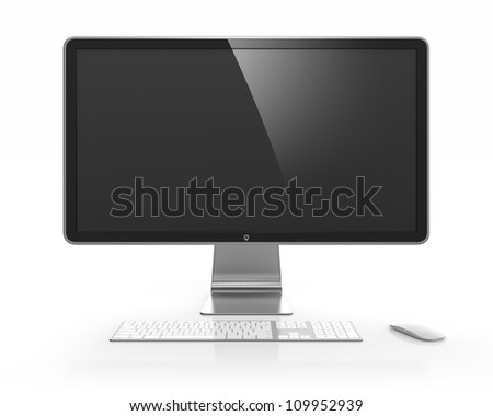 Computer monitor with black blank screen isolated on white background