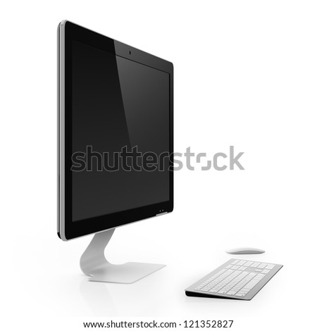Computer monitor with black screen isolated on white background