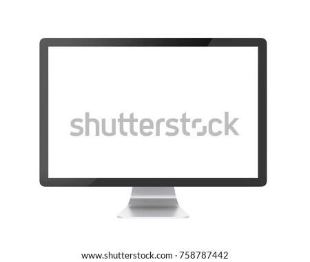 Computer Monitor with Blank White Screen Isolated. 3D rendering