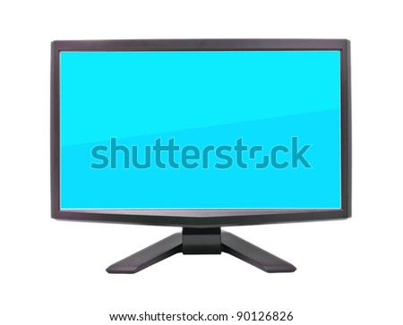 Computer monitor with blue flat wide screen isolated on white