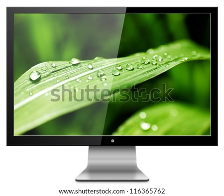 Computer Monitor with green leaf screen. Isolated on white background.
