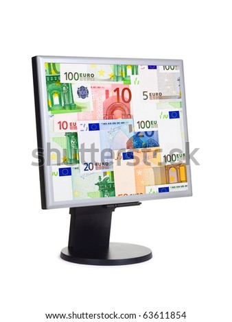 Computer monitor with money isolated on white background